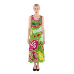 Green Organic Abstract Sleeveless Maxi Dress