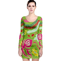 Green Organic Abstract Long Sleeve Bodycon Dress