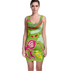 Green Organic Abstract Bodycon Dress