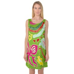 Green Organic Abstract Sleeveless Satin Nightdress