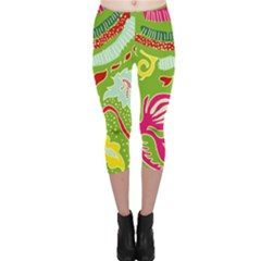 Green Organic Abstract Capri Leggings