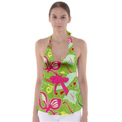 Green Organic Abstract Babydoll Tankini Top