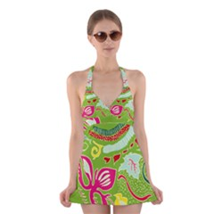 Green Organic Abstract Halter Swimsuit Dress
