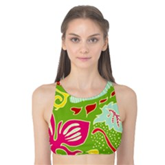 Green Organic Abstract Tank Bikini Top