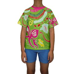 Green Organic Abstract Kids  Short Sleeve Swimwear