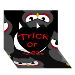 Trick or treat - owls Heart 3D Greeting Card (7x5)