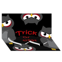Trick or treat - owls Twin Heart Bottom 3D Greeting Card (8x4)