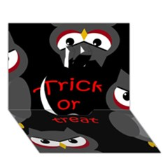 Trick or treat - owls Apple 3D Greeting Card (7x5)