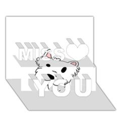 Westie Cartoon Head Miss You 3D Greeting Card (7x5)