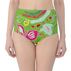 Green Organic Abstract High Waist Bikini Bottoms