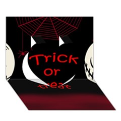 Trick or treat 2 Heart 3D Greeting Card (7x5)