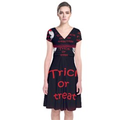 Trick or treat 2 Short Sleeve Front Wrap Dress