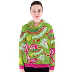 Green Organic Abstract Women s Zipper Hoodie