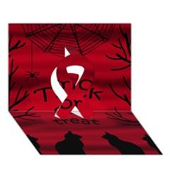 Trick or treat - black cat Ribbon 3D Greeting Card (7x5)