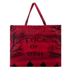 Trick Or Treat   Black Cat Zipper Large Tote Bag