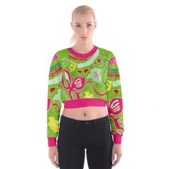 Green Organic Abstract Women s Cropped Sweatshirt