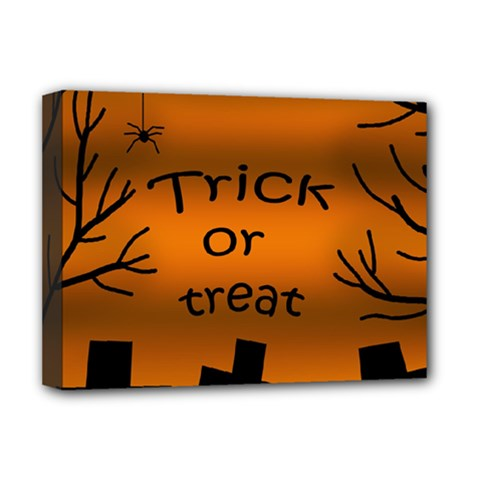 Trick or treat - cemetery  Deluxe Canvas 16  x 12