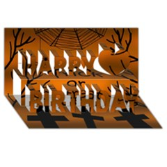 Trick or treat - cemetery  Happy Birthday 3D Greeting Card (8x4)