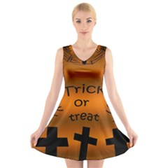 Trick Or Treat   Cemetery  V Neck Sleeveless Skater Dress
