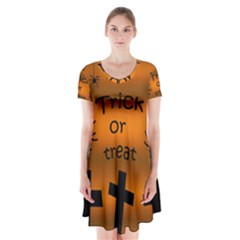 Trick Or Treat   Cemetery  Short Sleeve V Neck Flare Dress