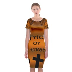 Trick or treat - cemetery  Classic Short Sleeve Midi Dress