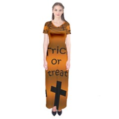 Trick or treat - cemetery  Short Sleeve Maxi Dress