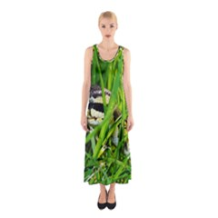 Ball Python In Grass Sleeveless Maxi Dress