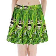 Ball Python In Grass Pleated Mini Skirt