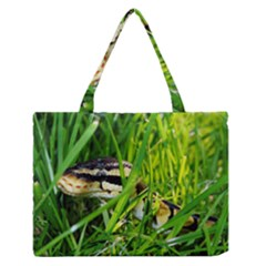 Ball Python In Grass Medium Zipper Tote Bag