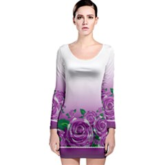 Wrapped In Flowers Long Sleeve Bodycon Dress