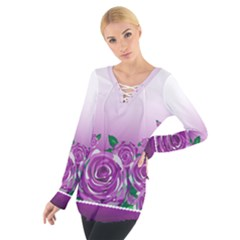Wrapped In Flowers Women s Tie Up Tee