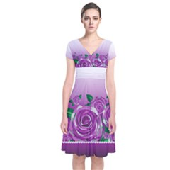 Wrapped In Flowers Short Sleeve Front Wrap Dress
