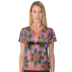 Colorful Floral Dream Women s V Neck Sport Mesh Tee