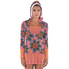 Colorful Floral Dream Women s Long Sleeve Hooded T Shirt