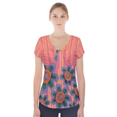 Colorful Floral Dream Short Sleeve Front Detail Top