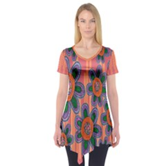 Colorful Floral Dream Short Sleeve Tunic