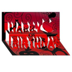 Trick or treat - Halloween landscape Happy Birthday 3D Greeting Card (8x4)