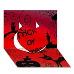 Trick Or Treat   Halloween Landscape Heart 3d Greeting Card (7x5)