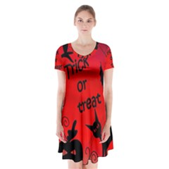 Trick or treat - Halloween landscape Short Sleeve V-neck Flare Dress