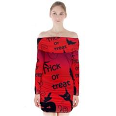 Trick or treat - Halloween landscape Long Sleeve Off Shoulder Dress