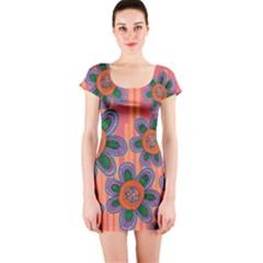 Colorful Floral Dream Short Sleeve Bodycon Dress