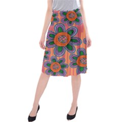 Colorful Floral Dream Midi Beach Skirt