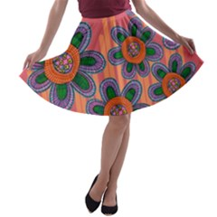 Colorful Floral Dream A Line Skater Skirt