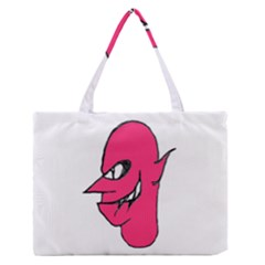 Devil Face Character Illustration Medium Zipper Tote Bag