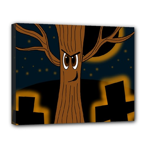 Halloween - Cemetery evil tree Canvas 14  x 11