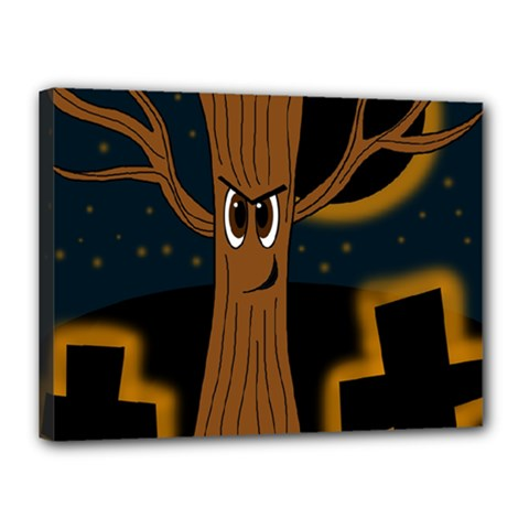 Halloween - Cemetery evil tree Canvas 16  x 12