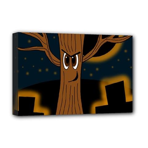 Halloween - Cemetery evil tree Deluxe Canvas 18  x 12
