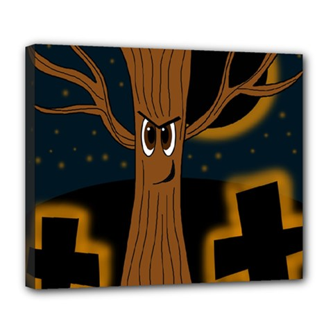 Halloween - Cemetery evil tree Deluxe Canvas 24  x 20