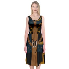 Halloween - Cemetery evil tree Midi Sleeveless Dress