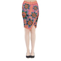 Colorful Floral Dream Midi Wrap Pencil Skirt